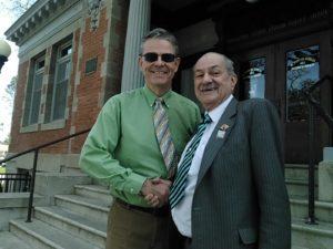 Mayor Martin congratulates Councilman Fred Strong